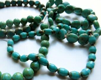 Blue Czech Glass Beads, Bold Colors - 5 Strands