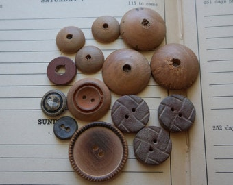 Vintage old wooden and composition sewing  buttons