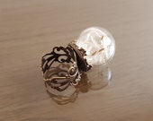 Dandelion ring Make a Wish botanical seed ring statement antique bronze filigree ring