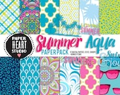 Instant Download - Digital Papers- Summer Swimming Tropical Vacation Paper Pack (16) Mandala