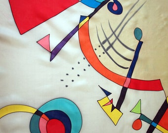 Silk scarf Hand painted - Hand Painted square Silk Scarf -square scarf-Style Kandinsky scarf- Giveaways -Gifts for her - 35x35in. (90x90cm)