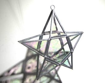 Stellar Points - 3D Stained Glass Star Gazer - Small Clear Geometric Home and Garden Decor Candle Lantern Hanging Suncatcher (READY TO SHIP)