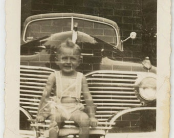 vintage photo 1941 Double EXposure Abstract Brick baby on CAr Snapshot photo