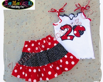 Girl Labybug Skirt Outfit Set Summer Spring Girl Ladybug Birthday Party 1st 2nd size 3 6 9 12 18 24 month size 2T 2 3T 3 4T 4 5T 5 6 7 8