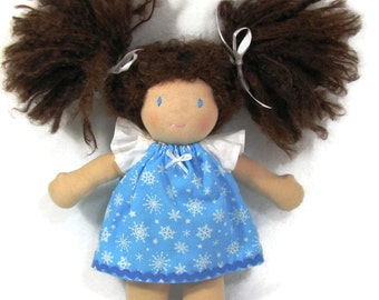 10, 12 in Waldorf doll dress, Blue and White Snowflake dress with White Flutter sleeves, Christmas in July doll clothing