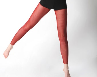 Sheer red leggings - sheer red mesh leggings, Women bottoms, Red tights