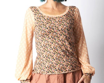 Pink floral top, Salmon pink and black patterned top with long puffy sleeves, in your size