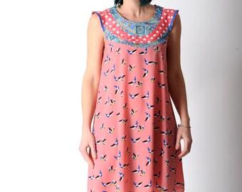 Bird print dress, Flared pink and blue dress, Pink bird patterned supple dress, Pink and blue tent dress FR38 / UK 10.