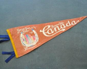 vintage niagara falls pennant, horseshoe falls, canada