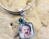 NEW - Double-Sided Square Mother of Pearl Custom Photo Charm with One Bead Accent Dangles for European Style Charm Bracelet