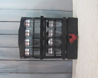 Black Wooden French Country Red Rooster Spice Rack with Jars and Drawer Kitchen Storage Organization
