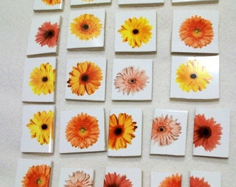 22 Ceramic Daisy Squares for Mosaics Crafts Yellows Oranges Floral Mosaic Tiles
