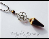 Strength, Courage, and Protection Tiger's Eye Pentacle Pendulum Necklace