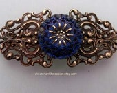Vintage Victorian style Handcrafted filigree Barrette hair clip blue Glass Czech button