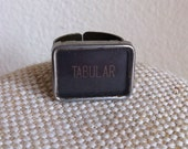 Vintage typewriter key ring - rectangle shape large key / TABULAR vintage key / statement ring