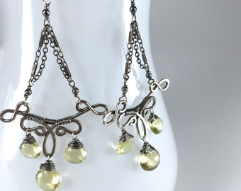 Silver Quartz Chandelier Earrings || Oxidized Silver Chandelier Earrings || Lemon Quartz Earrings