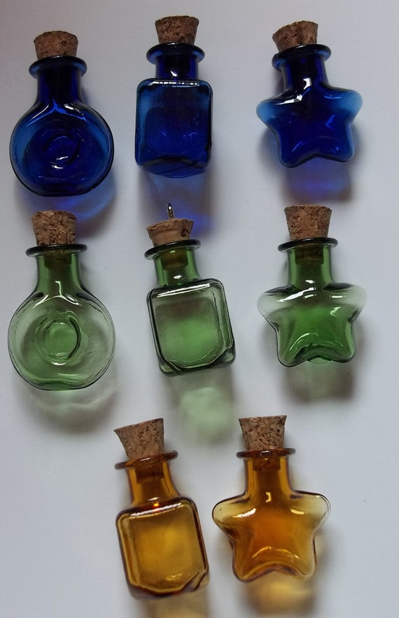 Colored Glass Bottles Necklace Diorama With Corks