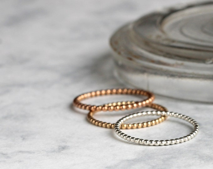 Ombre Dotted Stacking Ring Set - sterling silver, gold fill, rose gold fill