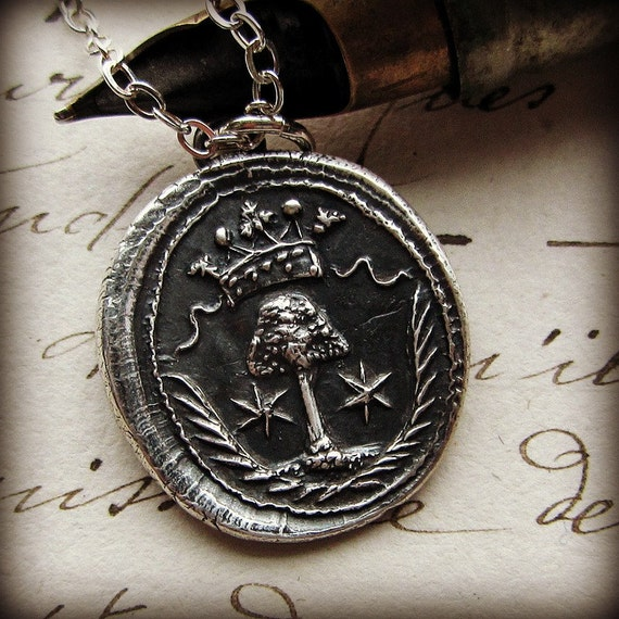 Tree Wax Seal Necklace - Family Tree - Antique Armorial wax seal pendant Family Tree wax seal jewelry in fine silver - E2295