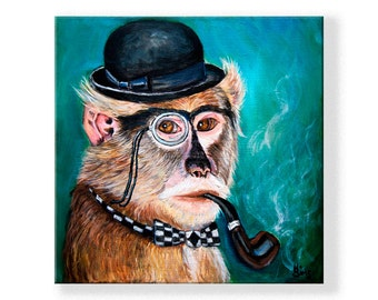 Year of the monkey art print of original monkey painting with smoking pipe, whimsical art  size mat options