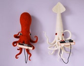 Print: Squid vs Octopus - Video game Needle Felt Plush Controller Photo Geek Toy controller lilac lavender