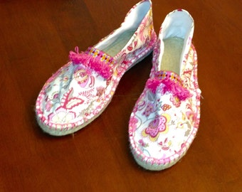 Liberty of London espadrilles in pink floral size 8 with fringe ready to ship