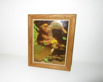 Teddy Bear Tile Plaque - Riding a Duck - Vintage 80's Plaque in Wood Frame - Wall Art  or Trivet by Kimberly Enterprises