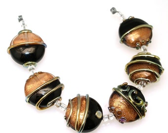 Black and Gold lampwork beads set of 6 lampwork beads SRA made by pearly karpel MTO, glass beads lampwork glass beads ,jewelry supplies