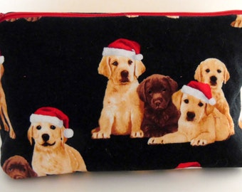 Labrador Retriever Puppy Make Up Bag, Lab Lover Cosmetic Bag, Pet Lover Medium Zippered Pouch, Dog Leash Holder, Lab Zippered Pouch