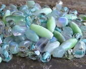 Seafoam Mist Czech Glass Bead Mix : 50 Grams Bead Mix