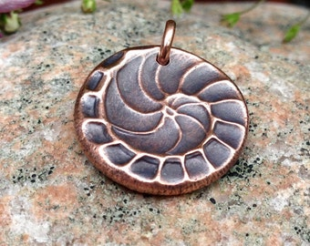 Small Copper Natures Spiral Pendant, Copper Nautilus, Small Shell Imprint, Rustic Jewelry, Spiral of Life