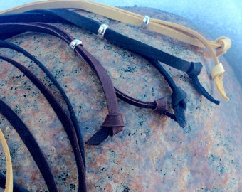 Adjustable Leather Necklace Cord, Chocolate, Black, Buckskin Lace, Flat Jewelry Cord, Soft Deerskin Leather Lace, Adjustable Lace