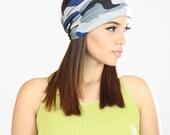 Womens Headwraps, Blue Headband, Camouflage Headband, Head Wrap Women, Extra Wide Bandana Headband, Headwrap Headband, Bandana Head Wrap