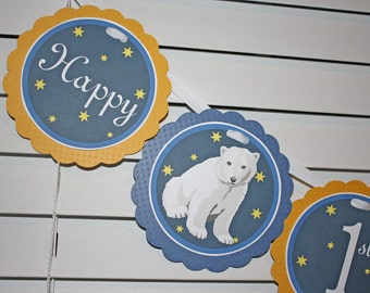 POLAR BEAR Birthday Banner / Polar Bear Banner / Polar Bear Winter Birthday Banner / Winter Wonderland Banner / Winter Onederland Banner