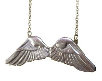 Sale WING NECKLACE silver charm pendant