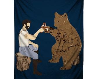 Having a Bear, Illustration Tapestry