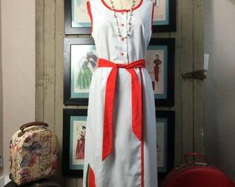 Sale 1960s maxi dress novelty print dress watermelon dress size large Vintage dress sleeveless dress cotton dress