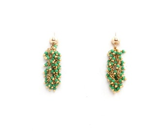 Green Turquoise Fringe Earrings/14K Gold Filled Studs/Elegant Dangle and Drop Earrings