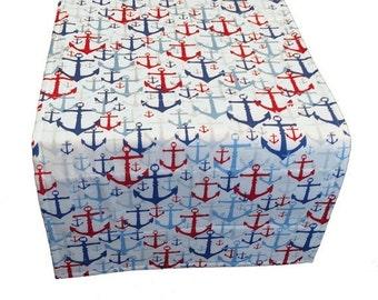 Nautical Table Runner, Red White and Blue Table Runner, Patriotic Table Runner