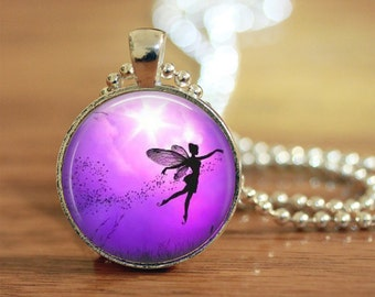 Purple Fairy Necklace, Fairy Pendant, Fairy Jewelry, Pixie Charm, Fantasy Necklace, Art Pendant, Gift for Her, Art Photo Necklace