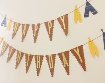 BOHO Happy Birthday Garland//Tribal Birthday Banner//Pow Wow Theme//Brave Little One Bohemian Party 1st Birthday Teepee Feather Garland