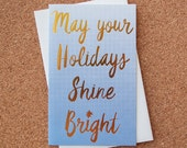 Shine Bright Letterpress & Gold Foil Holiday Card // 1551