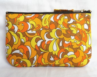 Vintage Fabric Purse in 1960's Spring Psychedelic, Yellow & Orange with Denim, for Phone, Cash, Cards or Make Up