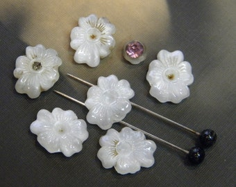 Vintage Glass Beads Two Hole Czech Flowers