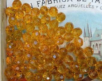 Vintage Faceted Topaz Yellow Beads Czech Glass
