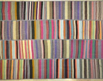 Multicolor Neutral Dark Stripe Patchwork Rug Wool Kilim Handwoven Turkish 5.5'x8'