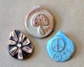 3 Handmade Ceramic Beads - Pinch top Pendant Beads - Primitive Hippie Beads - Rustic Spirituality - Peace, Mushroom, Daisy