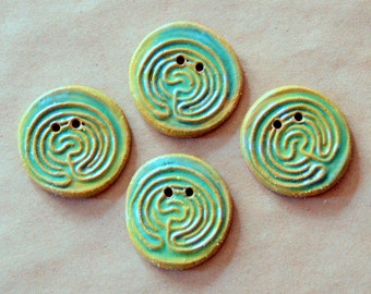 4 Handmade Ceramic Buttons - Large Labyrinth Buttons in Brown Stoneware and Spring Green Glaze - Knitting and Crochet Supplies