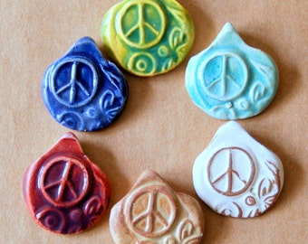6 Handmade Ceramic Beads - Pinch top Peace Sign Beads - Summer Jewelry - a Rainbow of Peace, Love and Goodvibes,  Summer Festival  Supplies