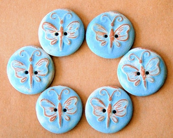 6 Handmade Ceramic Buttons - Butterfly Buttons in Rustic Sky Blue Stoneware - Focal buttons for handknit and crochet beauties